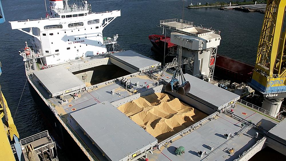 SLC - Foto 130924 01 Ag Getreide Entladung Frachtschiff Generated